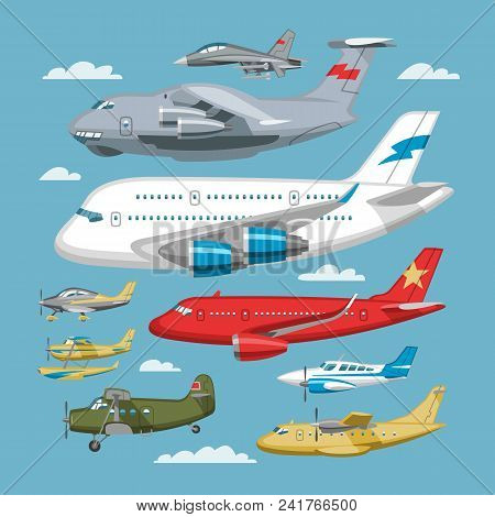 Plane Vector Aircraft Or Airplane And Jet Flight Transportation In Sky Illustration Aviation Set Of