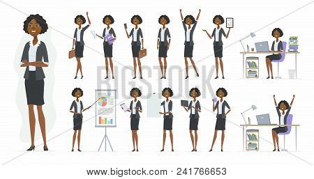African Businesswoman - Vector Cartoon People Character Set Isolated On White Background. Set Of Dif
