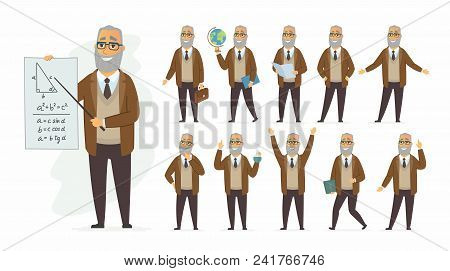 Teacher - Vector Cartoon People Character Set Isolated On White Background. Senior Man Teaching Diff