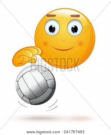 Emoticon Playing Volleyball. Cheerful Smiley With A Ball. Emoji And Ball For Playing Volleyball. Vec