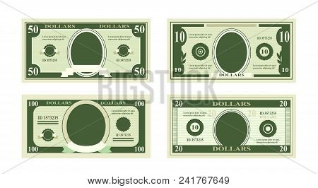 Vector Illustration Of Fake Dollars Banknotes. Bill One Hundred Dollars Suitable For Discount Cards