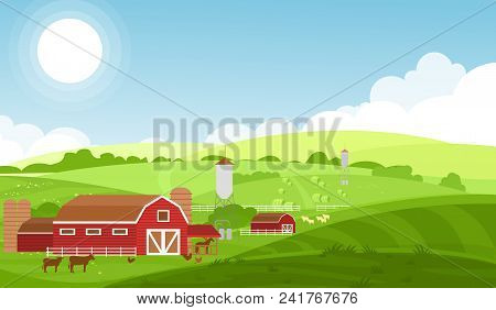 Vector Illustration Of Farm With Large Fields, Cows And Sheeps, Farm Animals On Beautiful Landscape