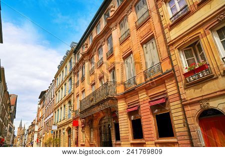 Strasbourg Grand rue street facades in Alsace France