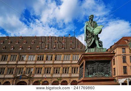Place Gutenberg statue in Strasbourg Alsace France