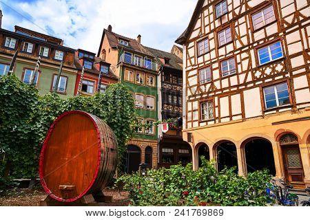 Strasbourg Place des Tripiers wooden barrel in Alsace France