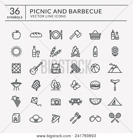 Picnic And Barbecue Web Icons. Set Of Black Outline Symbols For A Summer Outdoor Recreation Theme. V
