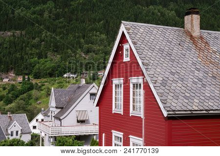 Norway, Odda, July 06, 2017: typical architecture of Norwegian houses