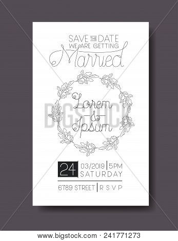 Wedding married vector photo free trial bigstock wedding and married invitation card with circular wreath vector illustration stopboris Choice Image