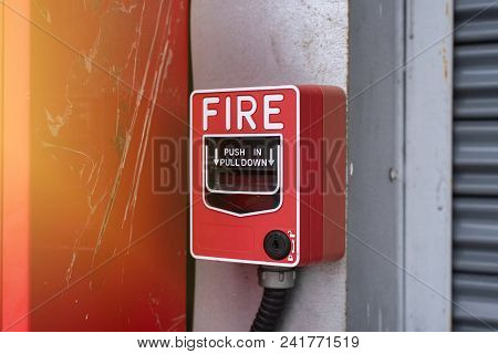 Fire Alarm Switch, Close Up Of Fire Alarm Switch