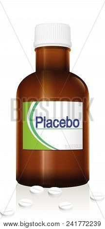 Placebo. Vial Named Placebo, A Medical Fake Product. Isolated Vector Illustration On White Backgroun