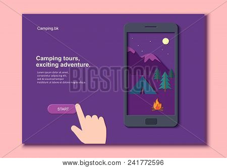Evening Camp With A Fire And A Tent Pine Forest And Rocky Mountains In A Mobile Phone With Hand In P