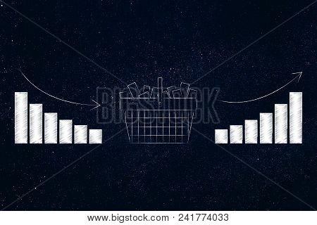 Improve Your Marketing Performance Conceptual Illustration: Full Shopping Basket With Graphs From Ne