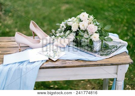 Jewel, Present, Charges Of The Bride Concept. Lovely Still Life Composed Of Ballet Pink Ladies Shoes