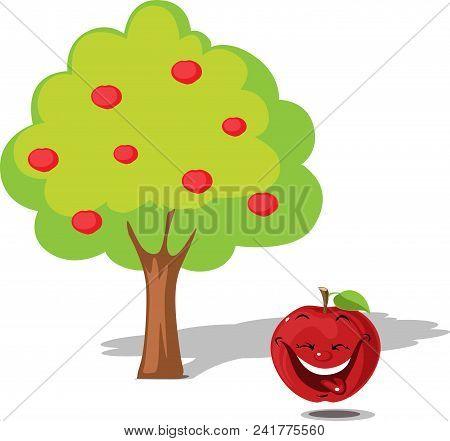 Apple Falling From Tree - Flat Design Illustration Vector Cartoon