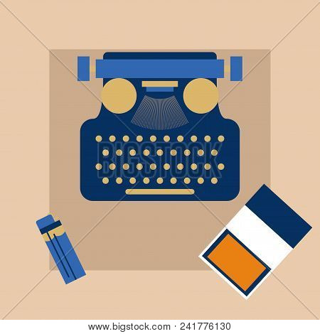Typewriter , Pack Of Cigarettes And A Lighter Top Angle View Flat Vector Illustration