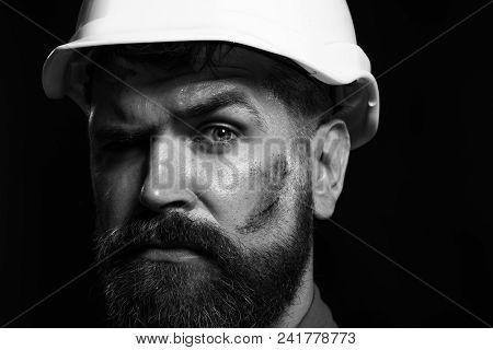 Architect, Worker, Engineer - Work. Portrait Bearded Man With Protect Helmet Wearing. Builder Workin