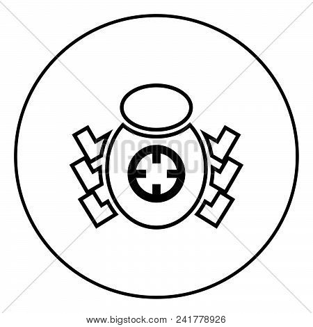 Bug Beetle In Target Sight Icon Outline In Circle Black Color Vector Illustration Simple Image Flat