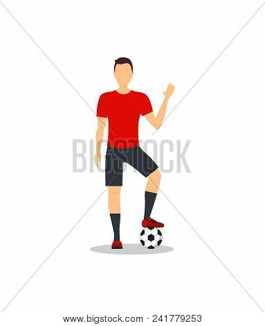 Cartoon Football Player Training And Practicing, Timeout Soccer Sport. Vector Illustration Of Footba