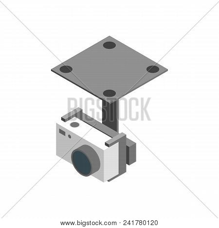 Photo Camera For Multicopter Isometric View On A White Background Professional Device . Vector Illus