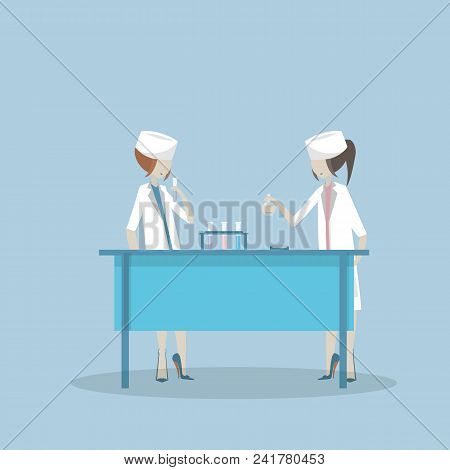 Vector Illustration Of Scientists Two Woman Working At Science Lab. Laboratory Interior, Equipment A