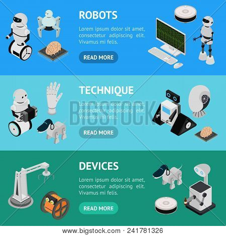 Smart Technologies Devices Banner Horizontal Set Isometric View Innovation Futuristic System Equipme