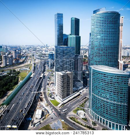 Aerial View Of Moscow With Skyscrapers Of Moscow-city, Russia. Modern Buildings Of Moscow And Ttk Ro