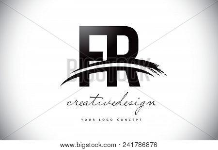 Fr F R Letter Logo Design With Swoosh And Black Brush Stroke. Modern Creative Brush Stroke Letters V