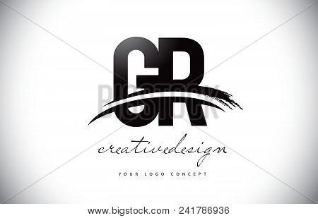 Gr G R Letter Logo Design With Swoosh And Black Brush Stroke. Modern Creative Brush Stroke Letters V