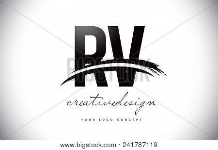 Rv R V Letter Logo Design With Swoosh And Black Brush Stroke. Modern Creative Brush Stroke Letters V