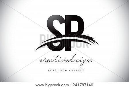 Sp S P Letter Logo Design With Swoosh And Black Brush Stroke. Modern Creative Brush Stroke Letters V