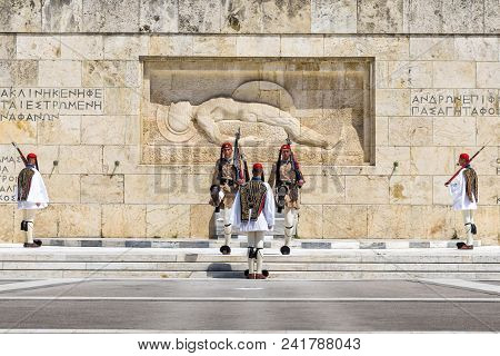 Athens, Greece - May 9, 2018: Changing Of The Honor Guard On Syntagma Square In Athens. Presidential