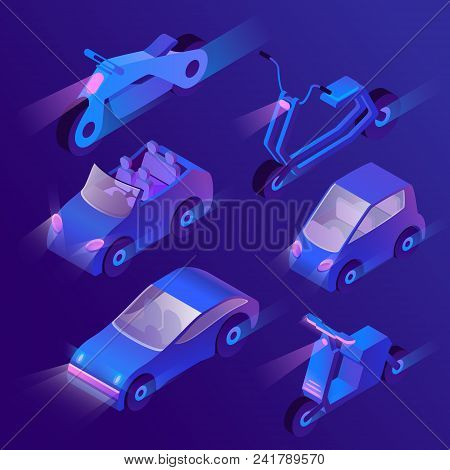 Vector Set Of Isometric Urban Transportation At Night With Turned On Headlights. Private Cars And Ot