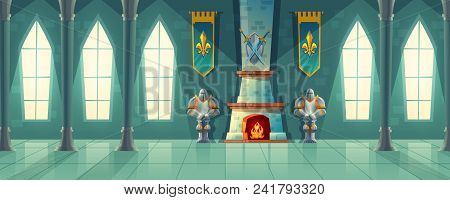 Vector Castle Hall, Interior Of Royal Ballroom With Fireplace, Knight Armor, Flags For Dancing. Big