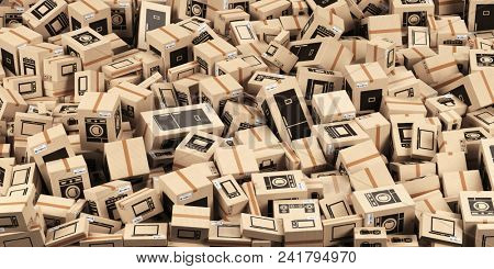 Background from cardboard boxes with household kitchen appliances and home technics. E-commerce, internet online shopping and delivery concept. 3d illustration