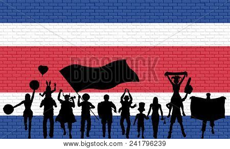 Costa Rican Supporter Silhouette In Front Of Brick Wall With Costa Rica Flag. All The Objects, Silho
