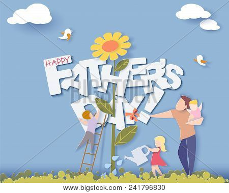 Handsome Man With His Children Growing Flower. Happy Fathers Day Card. Paper Cut Style. Vector Illus