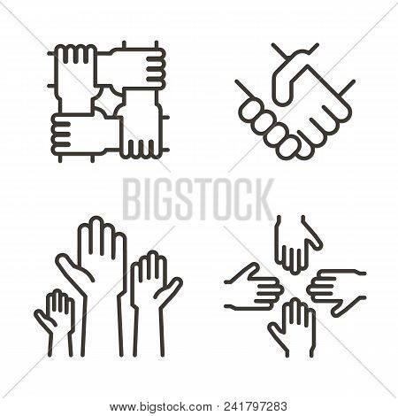 Set Of Hand Icons Representing Partnership, Community, Charity, Teamwork, Business, Friendship And C