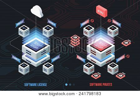 Licensed Software And Pirated, Isometric Illustration. Business, Technology, Internet And Network Co