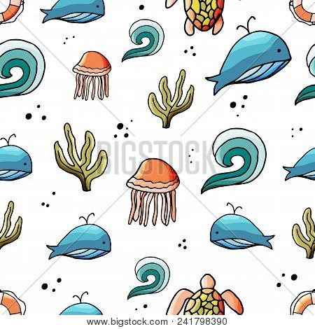 Sea Elements Seamless Pattern In Cartoon Style. For Web, Print And Creative Design. Vector Illustrat
