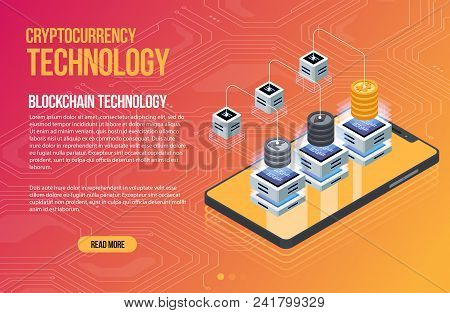 Blockchain Network Business Template. Cryptocurrency And Blockchain Isometric Composition. Mining Ab