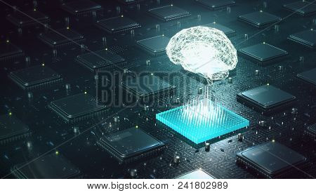 Machine Learning , Artificial Intelligence, Ai, Deep Learning Blockchain Neural Network Concept. Bra