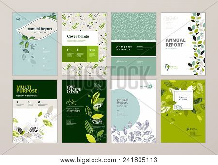 Set Of Brochure And Annual Report Cover Design Templates On The Subject Of Nature, Environment And O
