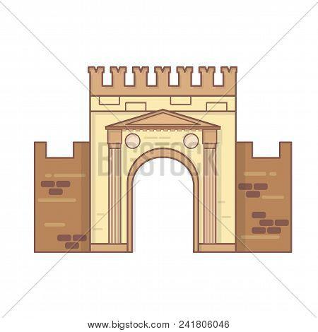 Rimini, Emilia Romagna, Italy Arch Of Augustus Vector, Ancient Romanesque Gate Of The City - Histori