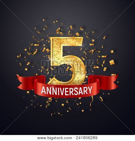 5 Years Anniversary Logo Template On Dark Background. Five Celebrating Golden Numbers With Red Ribbo