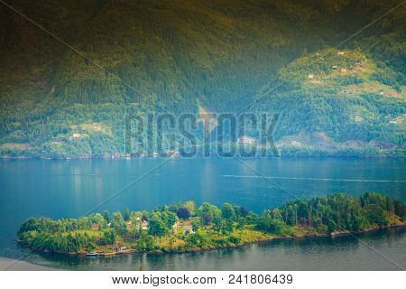 Tourism Vacation And Travel. Fjord Landscape Near Bergen, Island Osteroy, Norway Scandinavia Europe.