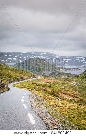 Lysevegen Road Running Through Summer Norwegian Mountains, Located In Rogaland County. Beautiful Lan
