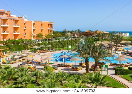 Hurghada, Egypt - April 6, 2013: Tropical resort Three Corners Sunny Beach in Hurghada. Three Corners is Belgian company with 11 hotels at Red Sea in Egypt and one in Budapest, Hungary.
