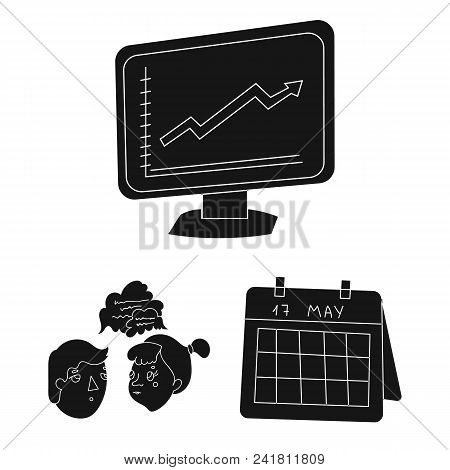 Business Conference And Negotiations Black Icons In Set Collection For Design.business And Training