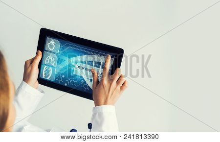 Tablet Pc Device With Medicine Interface Screen In Hands Of Doctor