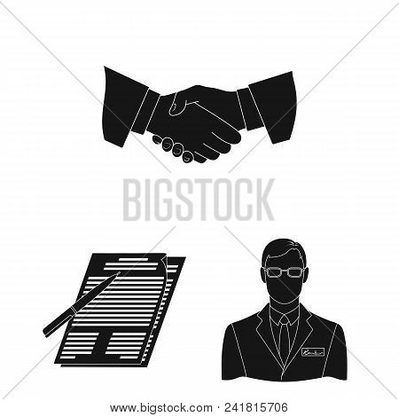 Realtor, Agency Black Icons In Set Collection For Design. Buying And Selling Real Estate Vector Symb